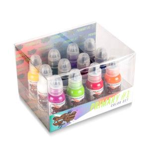 World Famous Tattoo Ink - 1oz. 12 Bottle Primary Color Ink Set #1